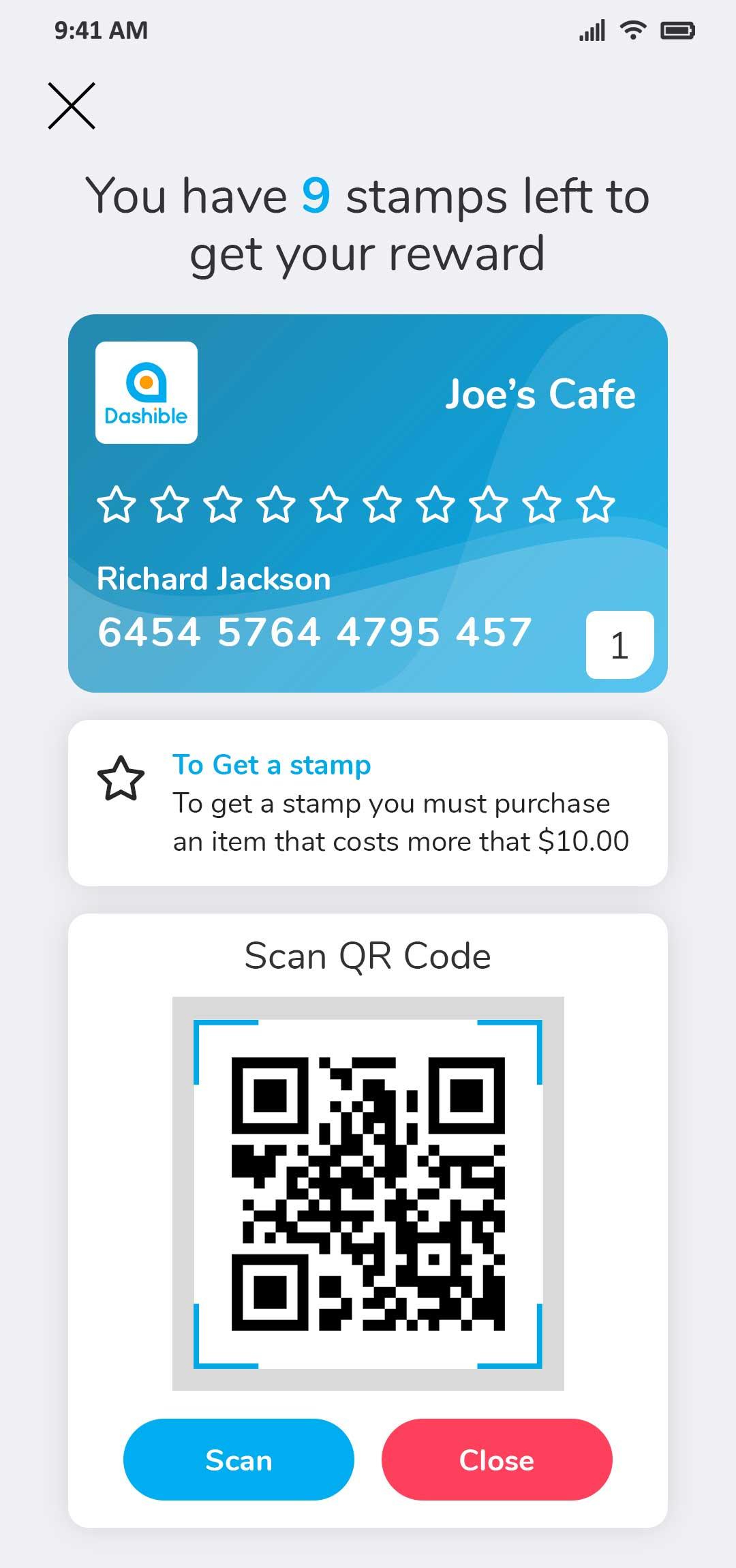 loyalty card Scan QR Code
